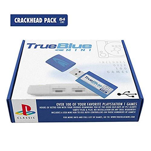 ZUJI True Blue Mini Crackhead Pack mit 101 Spielset für Playstation Classic, 64G (Crackhead Pack)