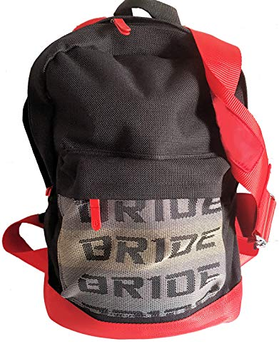 Bride JDM backpack with red racing harness as straps takata sparko bag