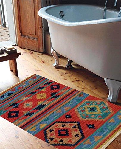 Miss cucci tappeto kilim per bagno 4048 misura 65x110 cm fatto a mano 100% lana