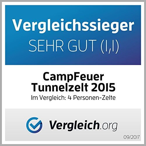 CampFeuer - Tunnelzelt mit 2 Schlafkabinen, blau/hellblau, 5000 mm Wassersäule, mit Bodenplane und versetzbarer Vorderwand - 9