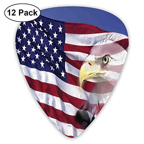 act Art Colorful Designs,Bless America Flag In The Wind With Eagle Icon Double Exposure Citizen Image,Unique Guitar Gift,For Bass Electric & Acoustic Guitars-12 Pack ()
