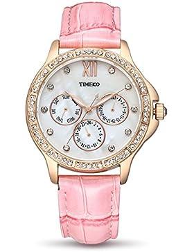 Time100 Damenuhr Leder Band dekoratives Zifferblatt mit Strass Armbanduhr Quarz Analog Uhr Rosa #W70135L.03A