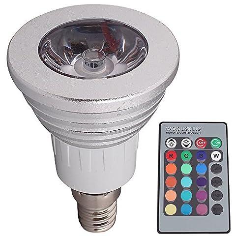 E143W RGB ampoules LED, 16Choix de couleurs, Changement de couleur, télécommande 24touches inclus, éclairage d