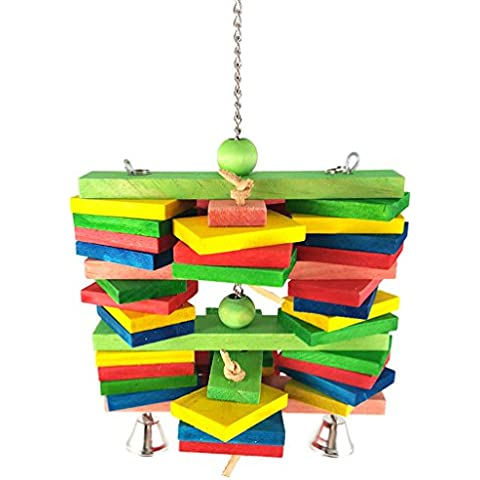 Cuerda de algodón de madera del color de acrílico del pájaro juguetes de metal Botella gancho de algodón cuerda Chew duradero no tóxicos juguetes loro estación de loro grande (colores varían)