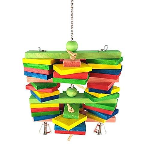 Cotton Rope Farbe Holz Acryl Vogelspielzeug Metallhaken Flasche Baumwolseil Durable Chew Non-Toxic-Station Papagei Spielzeug Großer Papagei (Farben Vary)