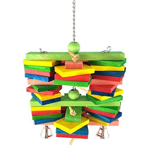 Vogel kauen Spielzeug, bunte hölzerne dauerhafte hängende Blöcke Perlen String Biss große mittlere und kleine Pet Bird Stand Rack spielen Bells Spielzeug Papagei liefert Perlen-rack