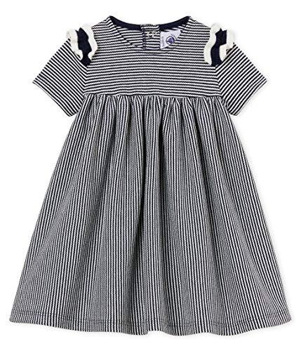 Petit Bateau Baby-Mädchen Kleid Baseball Mehrfarbig (Smoking/Marshmallow 01) Neugeboren (Herstellergröße: 18M 18 Monate)