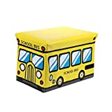 UCTOP STORE Cartoon School Bus sgabello per bambini, scatola portaoggetti in tessuto non tessuto Storage libri abbigliamento finitura scatola dei vestiti lavanderia tronco Tidy sedile
