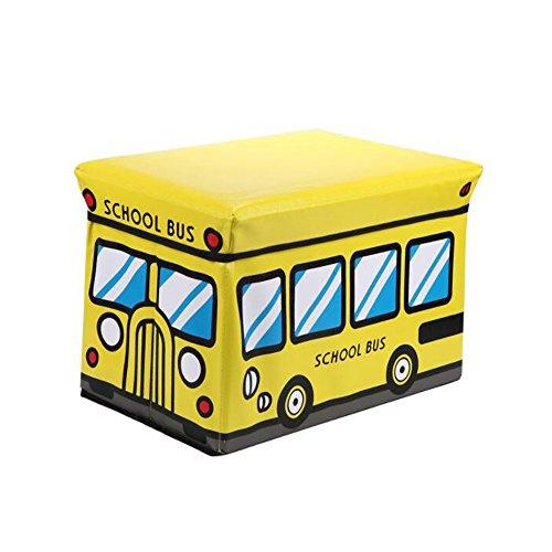 Store Hocker Aufbewahrung (UCTOP STORE Cartoon Schule Bus Kinder Aufbewahrungsbox Vlies Storage Wäschesack Hocker Bücher Kleidung Finishing Box Chest Kleidung Trunk Tidy Sitz)