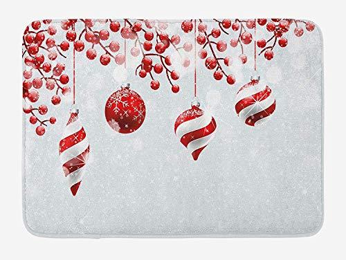 Bill COLO Weihnachten Badematte, traditionelle Design-Ikonen Holly Berry Zweige Schnee Bokeh Effekt drucken, Plüsch Badezimmer Dekor Matte rutschfeste Rückseite, 60 X 40 cm, rot weiß Holly Berry Designs