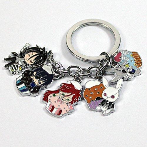 Anime Black Butler 5 Pendants Keychain Keyring