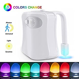 LED Toilet Light, The Original Motion Activated Night Lights Inside Toilet Bowl Lamp Fixture for Bathroom Washroom, 8 Colors Changing Switch, PIR Motion Sensor, Battery Operated