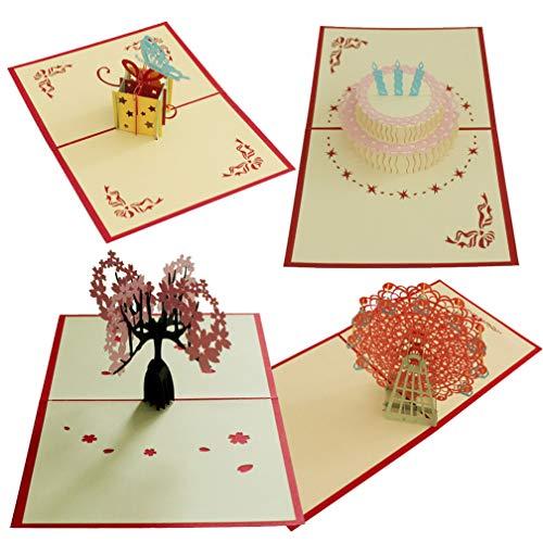 3D Paper Craft Grußkarten Cherry Blossoms Vorschlag Geständnis Riesenrad Happy Birthday Kuchen-Freundinnen, Sweetheart, Frau-Geburtstag, Jahrestag Geschenk Einladung Karte ()