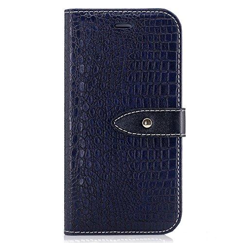 Nutbro iPhone 6 Plus Case, iPhone 6S Plus Flip Case [Crocodile Pattern] Premium PU Leather Wallet Case Flip Phone Case Cover with Card Slots Black BF-6-Plus-92