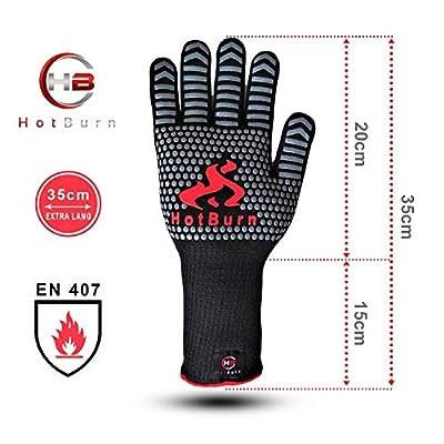 HotBurn Premium Grillhandschuhe Ofenhandschuhe Kochhandschuhe Backhandschuhe   Extrem Hitzebeständig   Handschuhe für Grill Kochen Backen   Extra Lang 35cm   1 Paar