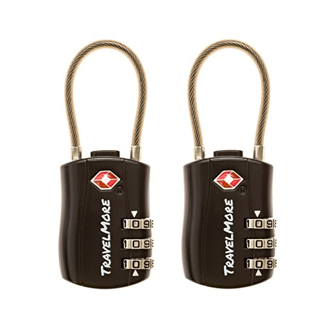 Cadenas Certifiés TSA à Combinaison de 3 Chiffres Pour Bagages de Voyage (1, 2 & 4 Pack) (2 Cadenas - Noir)