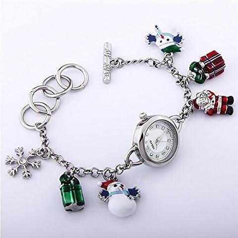 TIME100 Damen Armbanduhr Armkettuhr Schneeflocke Weihnachtsgeschenk Analog Quarz Silber