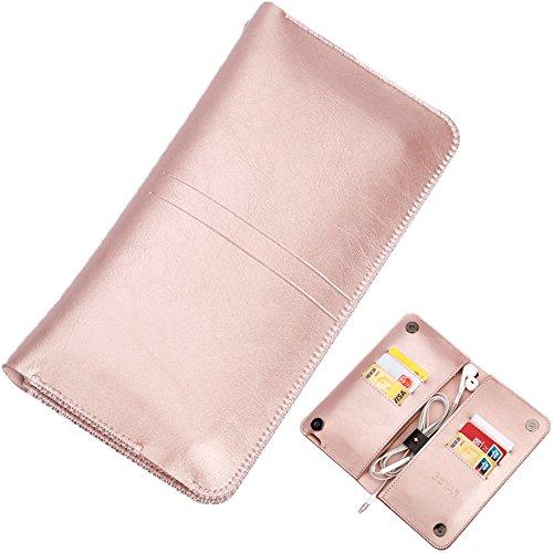 BLOOMSTAR cuoio Vintage Clutch Wallet Borsa Borsa custodia per iPhone 6/6s Plus iPhone 7/7 Plus (Rose Gold)
