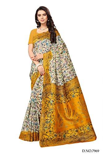 Applecreation art silk saree With Blouse Piece (Yellow Saree_Free Size_SRJB016)