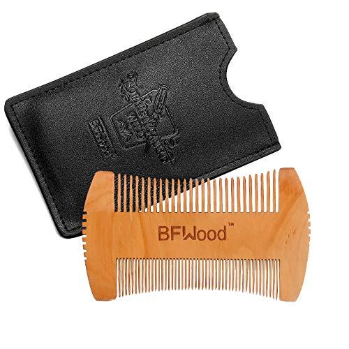 Bartkamm - Hatchet Style Bart Schnurrbart Taschen-Kamm aus Holz mit Ledertasche (SCHWARZ) von BFWood