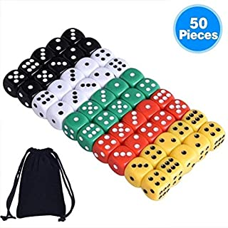 Austor 50 Pieces 6- Sided Dice Set, 5 x 10 Different Colors 16mm Acrylic Dice with Free Velvet Pouches for Tenzi, Farkle, Yahtzee, Bunco or Teaching Math