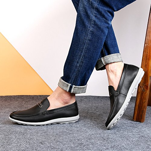 Minitoo Boys Mens Rubber Sole Slip-On Synthetic Penny Loafers Black