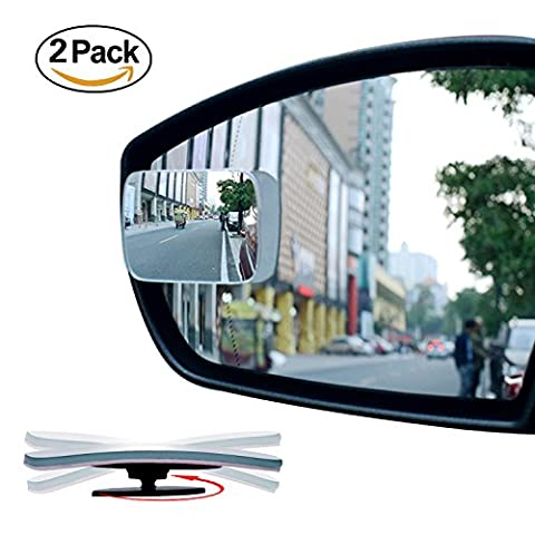 2 Pack Slim Square 360° Rotate + 20° Sway Adjustabe Blind Spot Mirror, Ampper HD Glass Convex Wide Angle Rear View Car SUV Motorcycle Universal Fit Stick On Lens