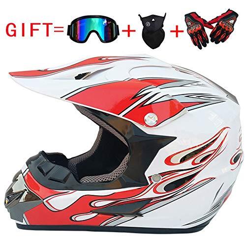 VWBQ Motocrosshelm, Crosshelm-Set,Mit Schutzbrille, Gesichtsmaske Und Handschuhen, Belüfteter Und Atmungsaktiver Mountainbike-Helm, In Verschiedenen Ausführungen Erhältlich (52~59 cm)