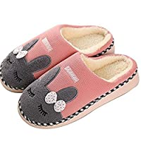 SAGUARO Winter Home Plush Slippers Cotton Warm Faux Fur Slipper Indoor Anti-Slip Shoes for Women Men, Pink 3/3.5 UK