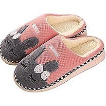 SAGUARO Winter Baumwolle Pantoffeln Plüsch Wärme Weiche Hausschuhe Kuschelige Home Rutschfeste Slippers mit Cartoon für Herren Damen