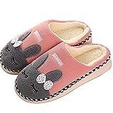 SAGUARO Winter Baumwolle Pantoffeln Plüsch Wärme Weiche Hausschuhe Kuschelige Home Rutschfeste Slippers mit Cartoon Unisex (35EU - Etikettengröße 36/37 , Pink)