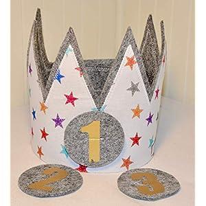 Der Wollprinz Geburtstagskrone Krone, Kinder Geburtstag Kinderkrone Stoffkrone bunt mit den Zahlen 1,2,3&4