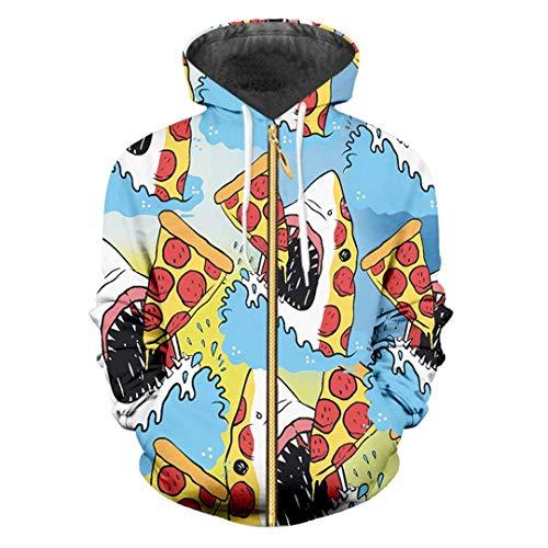 Zip Frauen/Männer Lustige Druck Shark Essen Pizza 3D Sweatshirt Hip Hop Mode Pullover Shark Eat Pizza L -