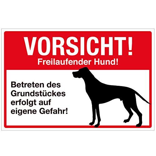 Wandkings Hinweisschild - Vorsicht! Freilaufender Hund! - stabile Aluminium Verbundplatte - Wähle eine Größe - 30x20 cm