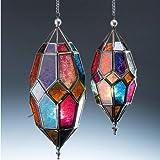 Authentische Marokkanische-Laterne Teelichthalter aus Glas zum Aufhängen, metall, multi, 9 x 9 x 22.5cm