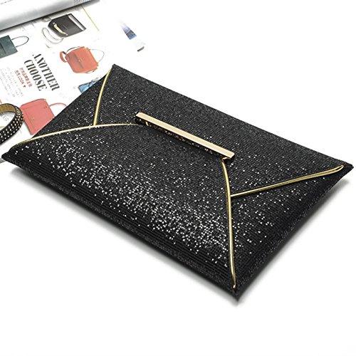 Losorn Zpy Ladies Clutch Evening Bag Glitter Handbag Wedding Party Busta Design Nero