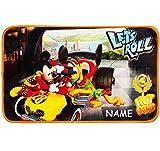 alles-meine.de GmbH 3 in 1: Bettvorleger / Badewannenvorleger / Duschvorleger -  Disney Mickey Mouse & Pluto  - incl. Name - Teppich Rutschfest , da unten gummiert - für Mädche..