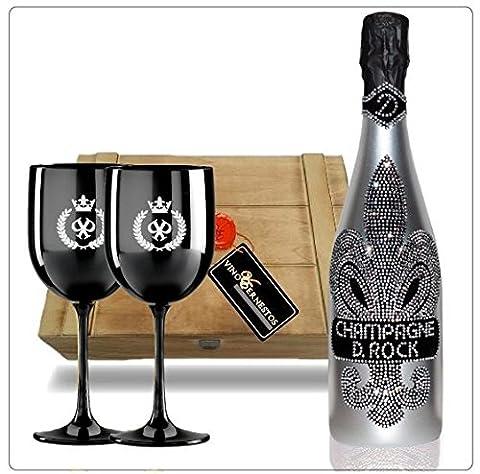 D. Rock Luxus-Champagner Geschenkset - inkl. 2 schwarzer Champagnergläsern mit