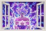 Unified Distribution Dragon Ball - Super Goku Ultra Instinct - Wandtattoo mit 3D Effekt, Aufkleber für Wände und Türen Größe: 92x61 cm, Stil: Fenster