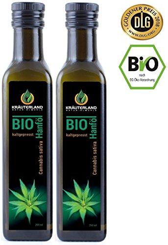 BIO Hanföl • BIO-zertifiziert• 500ml (2 x 250ml) • kaltgepresst • 100% naturrein • rein nativ • Frischegarantie: mühlenfrisch direkt vom Hersteller Kräuterland Natur-Ölmühle • Premium Qualität