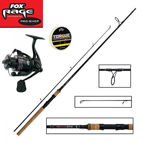 Fox Rage Set - Fox Warrior Spinnrute 2,40m 15-50g + Fox Warrior Rolle 2500 + 150m Fox Rage 0,12mm geflochtene Schnur gelb- Angelset zum Spinnfischen - Angelrute & Angelrolle zum Spinnangeln