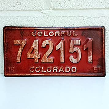 Embossed Metal American Car Number Plate Wall Plaque in Retro ...