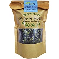 The Green Garden: 100% Dried Pure Butterfly Pea Flowers Thai Herbals Blue Tea, All Natural Ingredients , Safe, Clean And Healthy in Zipper Packaging 50 g (1.60 Oz) and Get Free a Wooden Spoon