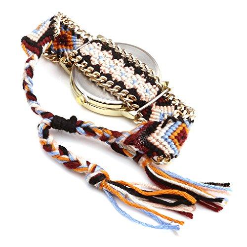 JSDDE Uhren,Damen Ethnisch Dreamcatcher Traumfaenger Freundschaft Braid Armbanduhr gewebte Seil Band Quarzuhr,Orange+Schwarz - 4