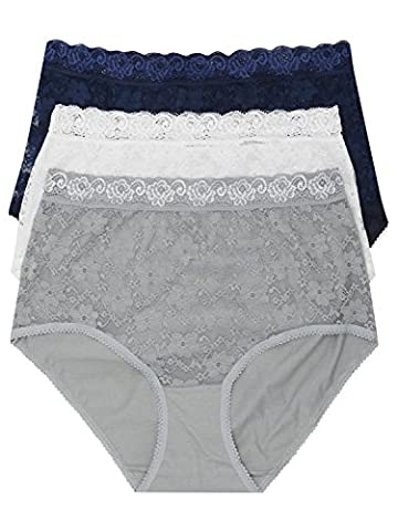 M&Co Ladies Cotton Rich Stretch Delicate Lace Design And Lace Waistband Detail Full Briefs - 3 Pack Silver