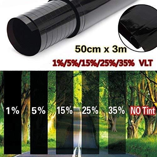 BOWEI 3 Stück 50cm X 3m Auto Spiegelfolie Selbstklebend Sonnenschutzfolie Sichtschutzfolie Verdunkelungsfolie Tönungsfolie UV-Schutz Kratzfest Schwarz (15%)