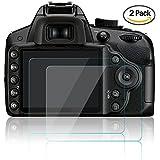 AFUNTA Films de Protection d'Ecran pour Nikon D3100 D3200 D3300 D3400, 2 Paquets de Protecteur de Caméra en Verre Trempé Optique