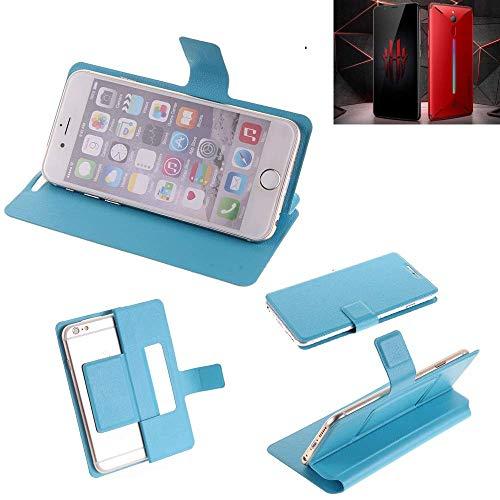 K-S-Trade® Flipcover Für Nubia Red Magic Mars Schutz Hülle Schutzhülle Flip Cover Handy Case Smartphone Handyhülle Blau