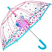 Paraguas Unicornio Niña - Paraguas Transparente de Burbuja Resistente, Antiviento y Largo - Apertura de