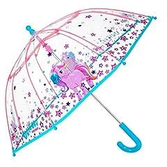 Idea Regalo - Ombrello Unicorno Bambina - Ombrello lungo Cupola Trasparente antivento - Apertura di sicurezza - 3/6 Anni - Diametro 64 cm - Perletti Cool Kids